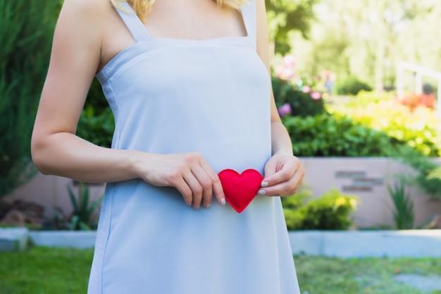 Una donna incinta in un abito blu sulla natura. concetto di maternità di gravidanza
