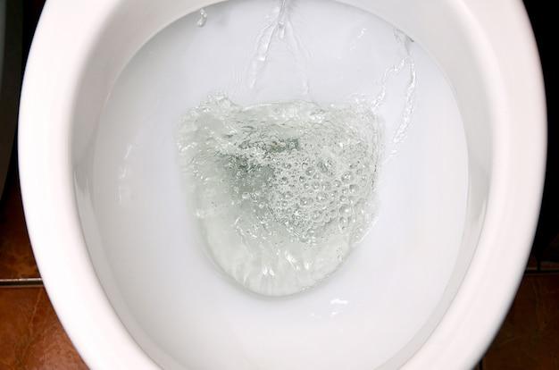 Una foto di una ciotola di toletta di ceramica bianca nel processo di lavarlo via.