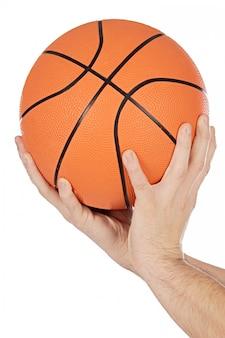 Una foto di una pallacanestro su fondo bianco