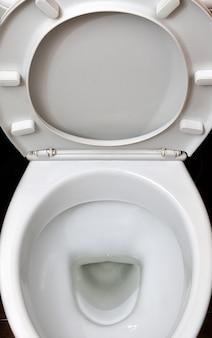 Una fotografia di una tazza del water in ceramica bianca nella medicazione
