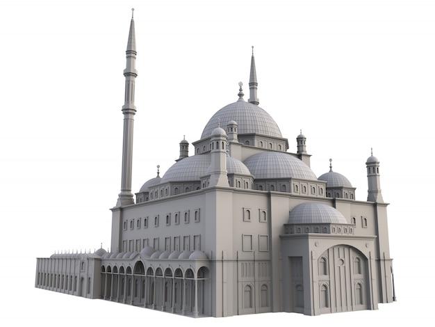 Una grande moschea musulmana, raster tridimensionale con linee di contorno che evidenziano i dettagli della costruzione