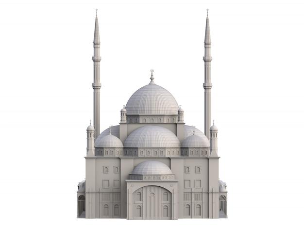 Una grande moschea musulmana, un'illustrazione tridimensionale raster con linee di contorno che evidenziano i dettagli della costruzione. rendering 3d.