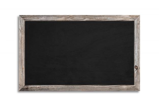 Una lavagna nera su uno sfondo bianco e una cornice di legno con tracciato di ritaglio. promozione e dettagli