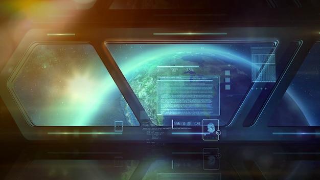 Una nave in orbita e infografica