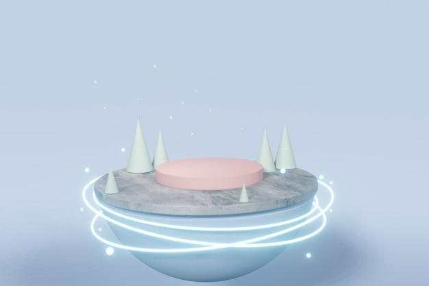 Una piattaforma vuota con tecnologia futuristica con illuminazione rotonda al neon luminosa. rendering 3d