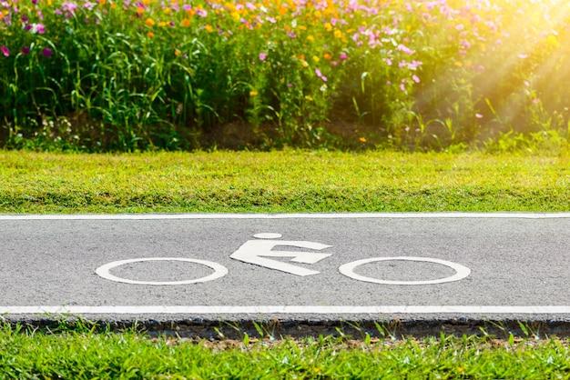 Una pista ciclabile per ciclista