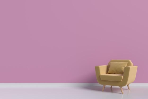 Una poltrona gialla nel soggiorno, pareti rosa, rendering 3d