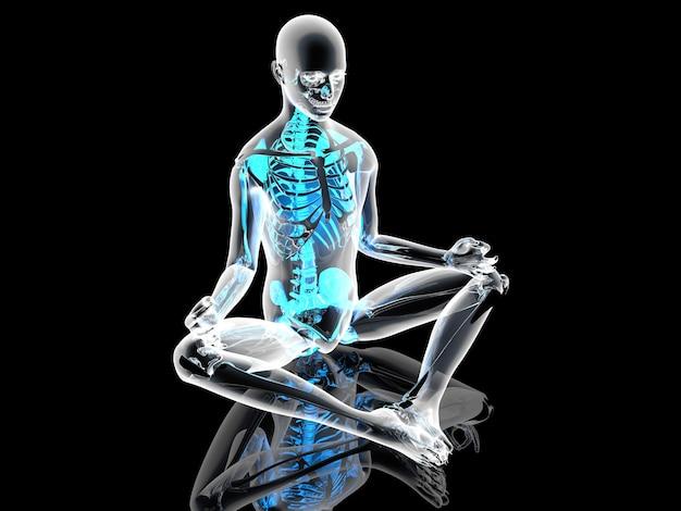 Una posa di meditazione yoga. illustrazione 3d.
