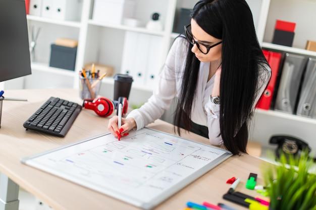 Una ragazza con gli occhiali sta vicino al tavolo, tiene un pennarello in mano e disegna su una lavagna magnetica.