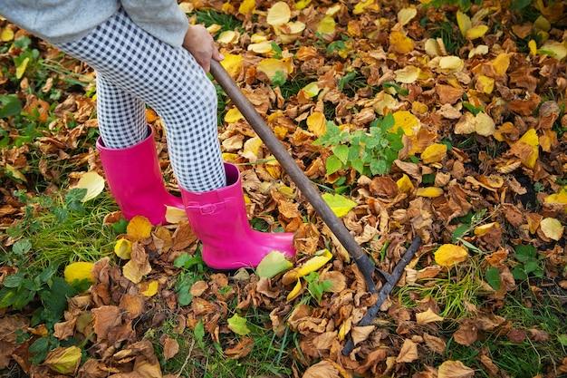 Una ragazza con gli stivali di gomma tiene in mano un rastrello e rastrella le foglie cadute.