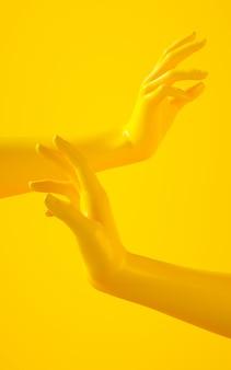 Una rappresentazione verticale 3d di due mani gialle su priorità bassa gialla