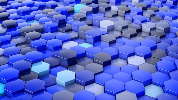 Una rete di esagoni di tonalità blu, che cambiano in altezza