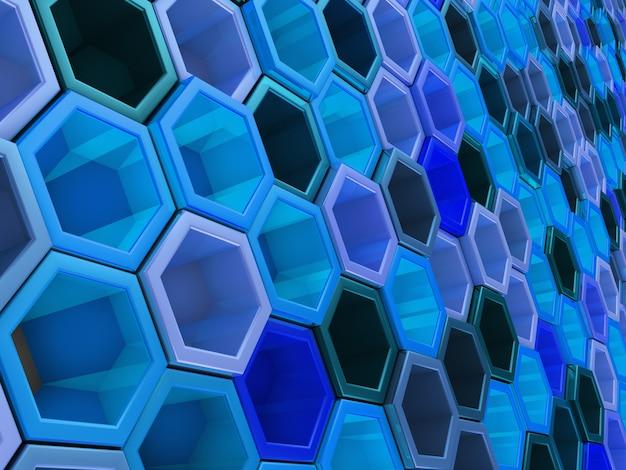 Una rete di esagoni di tonalità blu, che cambiano lo sfondo dell'altezza