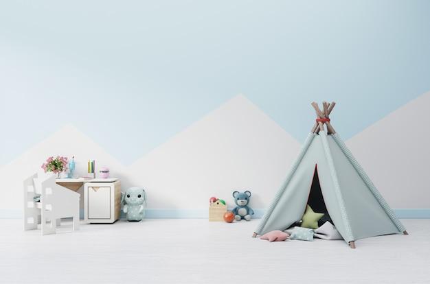 Una sala giochi per bambini vuota con tenda e tavolino, bambola.