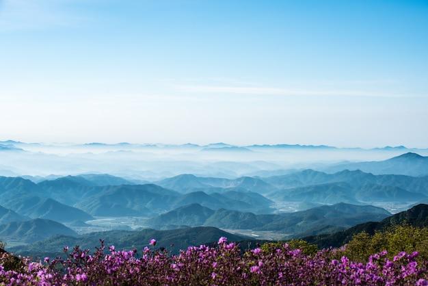Una scena di montagna piena di nuvole