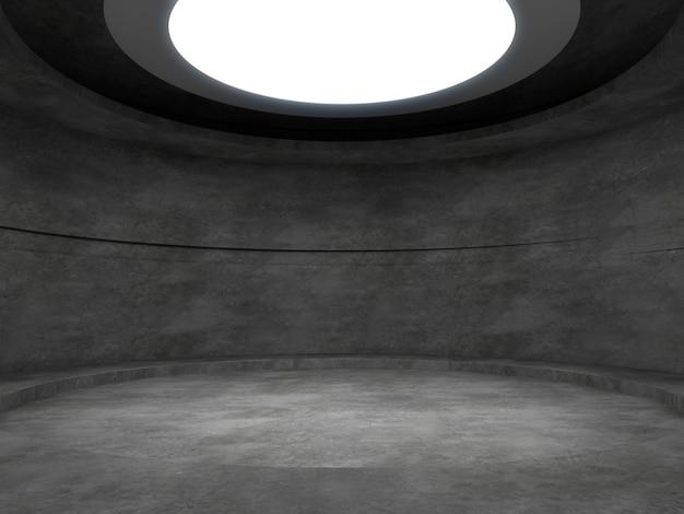 Una stanza vuota di cemento con luci dall'alto, stand di prodotto vuoto rendering 3d