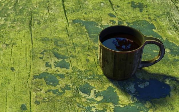 Una tazza di tè in legno sul vecchio tavolo muscoso