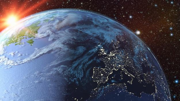 Una visione della terra dallo spazio.