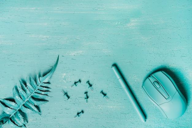 Una vista dall'alto di felce; puntina da disegno; penna e mouse su sfondo turchese