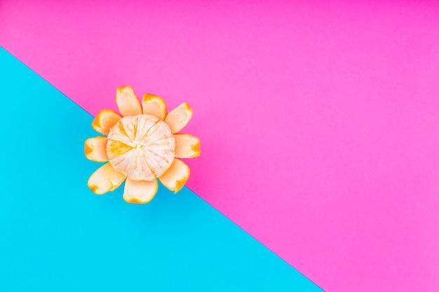 Una vista dall'alto di mandarino sbucciato fresco su doppio sfondo rosa e blu