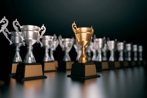 Unico trofeo d'oro campione in piedi fuori dalla folla concetti di business di leadership unica.
