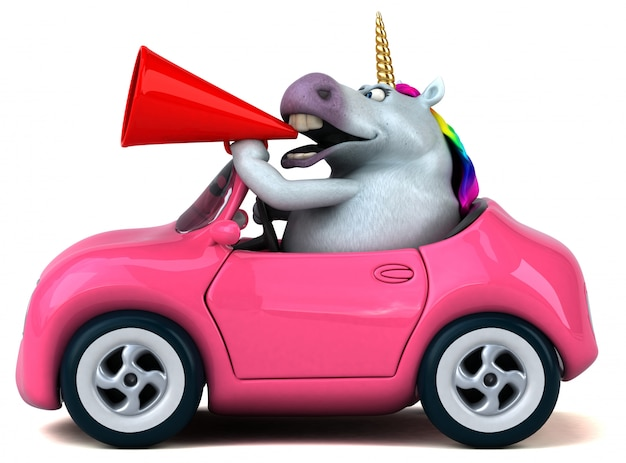 Unicorno divertente illustrazione 3d