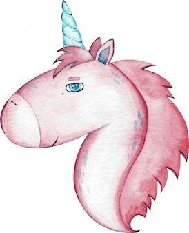 Unicorno rosa sveglio dell'acquerello isolato su fondo bianco.