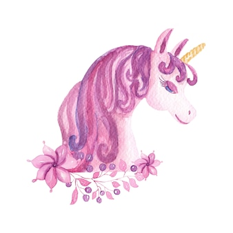 Unicorno sveglio dell'acquerello con fiori