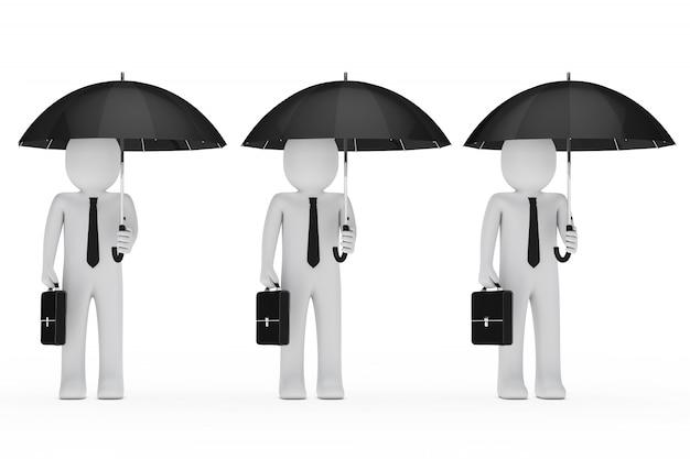 Uomini d'affari con ombrelloni e borse