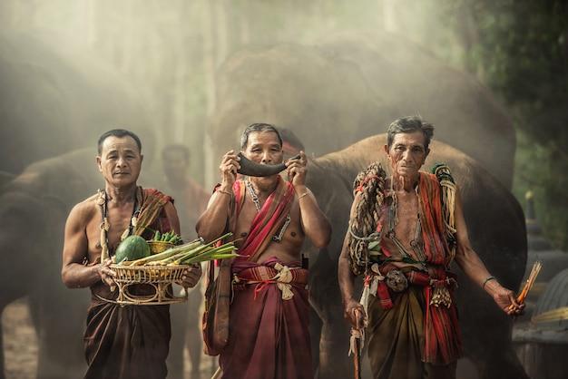 Uomini tailandesi tradizionali con elefanti