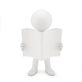 Uomo 3d che legge un libro.