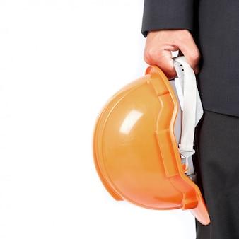 Uomo affari, costruzione, casco isolato su sfondo bianco
