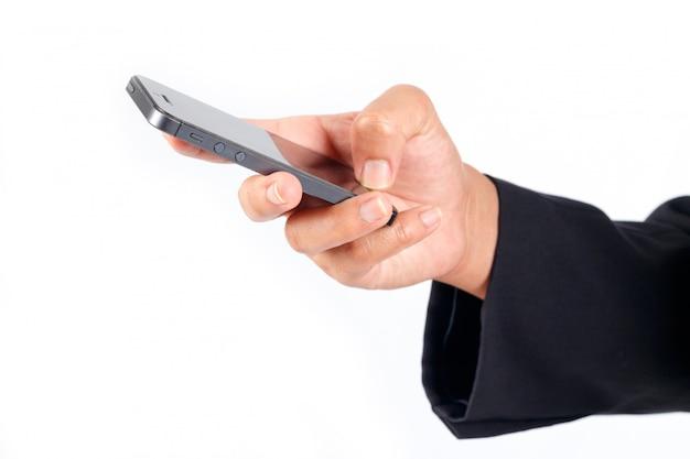 Uomo affari, usando, smartphone