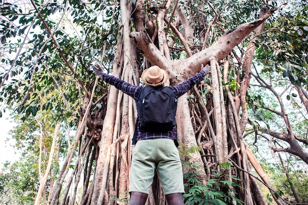 Uomo africano degli avventurieri di libertà che sta con i grandi alberi nella foresta
