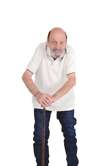 Uomo anziano con una canna