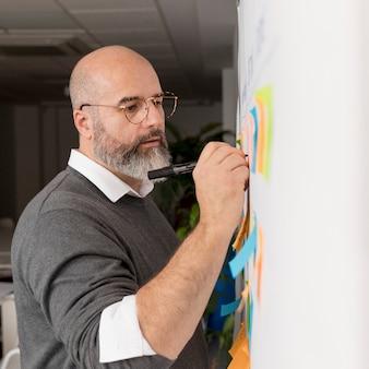 Uomo barbuto che presenta piano aziendale