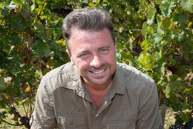 Uomo bello nella sua vigna raccolta uva