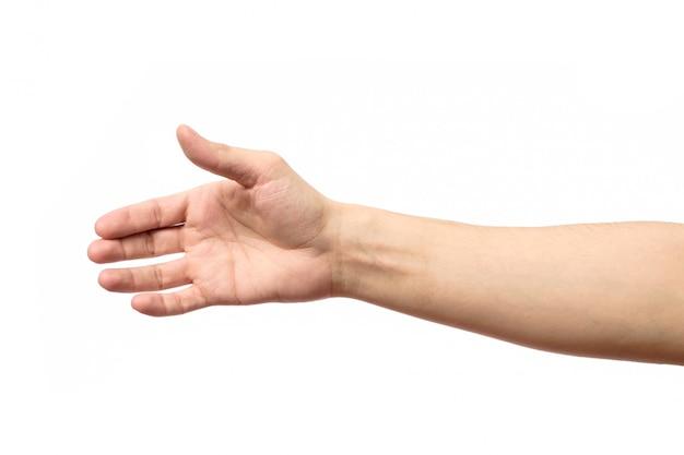 Uomo che allunga mano alla stretta di mano isolata