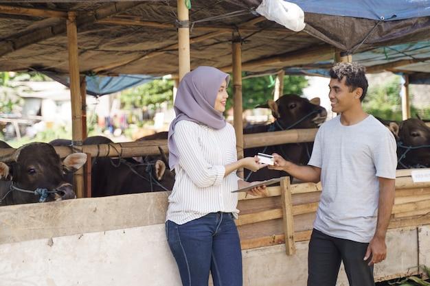 Uomo che compra una mucca per il sacrificio di eid adha nella fattoria tradizionale pagando con carta di credito
