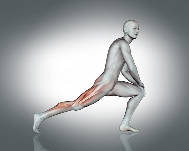 Uomo che fa i muscoli delle gambe