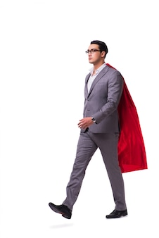 Uomo che indossa copertura rossa isolata