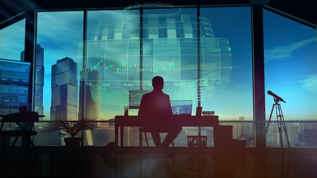 Uomo che lavora in ufficio con ologrammi e paesaggio urbano