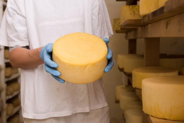 Uomo che tiene un rotolo di formaggio