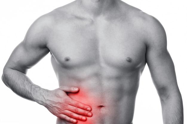 Uomo con dolore allo stomaco