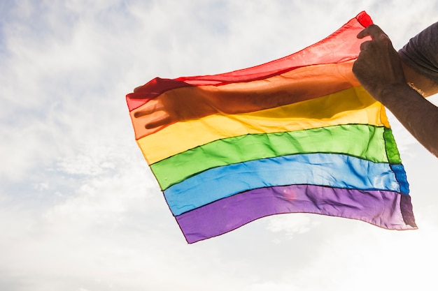 Uomo con grande bandiera in colori lgbt e cielo blu con il sole