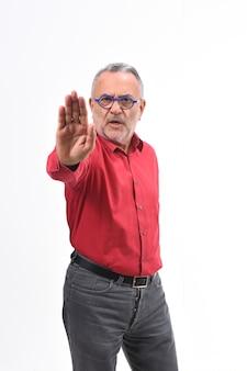 Uomo con il fanale di arresto bianco