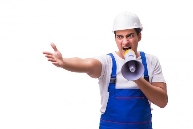 Uomo con il megafono isolato su bianco