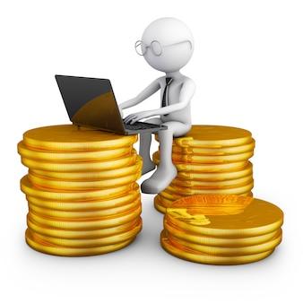 Uomo con il portatile seduto su una pila di monete
