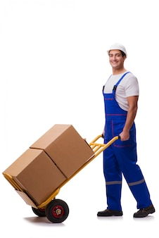 Uomo con le scatole isolate su bianco