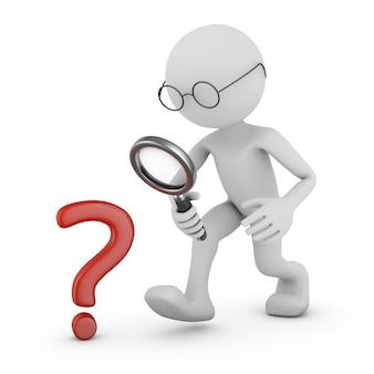 Uomo con una lente di ingrandimento e un punto interrogativo